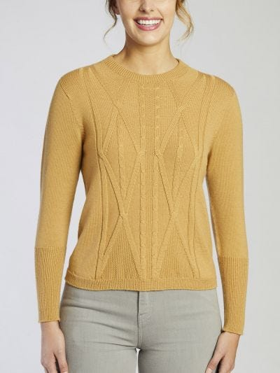 Paradise Cropped Merino Wool Cable Jumper